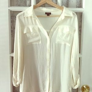 Sheer Ivory Blouse - Women's size large